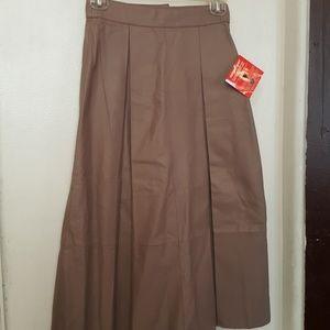 ASOS tan leather midi skirt